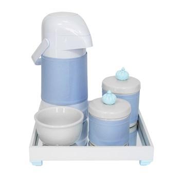 Kit Higiene Espelho Potes, Garrafa, Molhadeira e Capa Coroa Azul