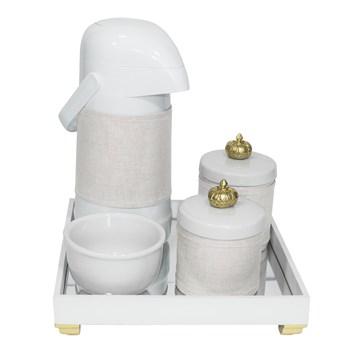 Kit Higiene Espelho Potes, Garrafa, Molhadeira e Capa Coroa Dourado