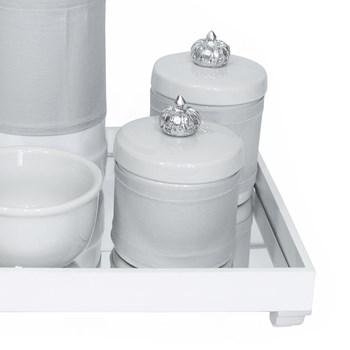 Kit Higiene Espelho Potes, Garrafa, Molhadeira e Capa Coroa Prata
