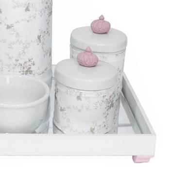 Kit Higiene Espelho Potes, Garrafa, Molhadeira e Capa Coroa Rosa