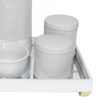 Kit Higiene Espelho Potes, Garrafa, Molhadeira e Capa Dourado