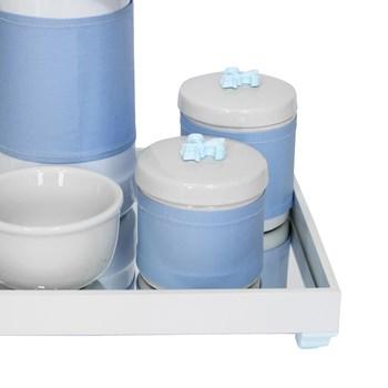 Kit Higiene Espelho Potes, Garrafa, Molhadeira e Capa Flor de Liz Azul