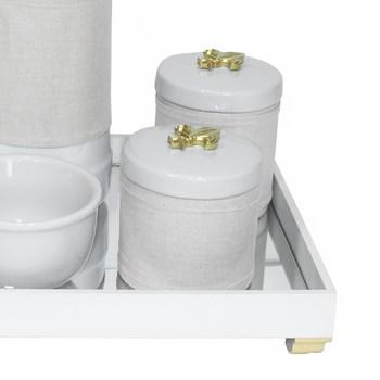 Kit Higiene Espelho Potes, Garrafa, Molhadeira e Capa Flor de Liz Dourado