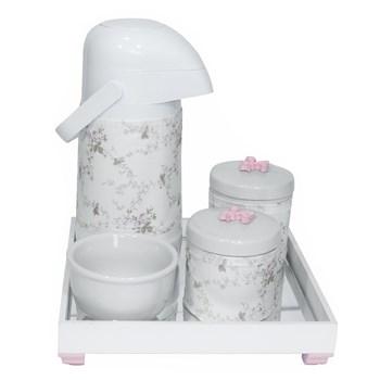 Kit Higiene Espelho Potes, Garrafa, Molhadeira e Capa Flor de Liz Rosa