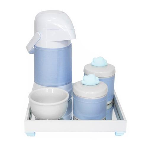 Kit Higiene Espelho Potes, Garrafa, Molhadeira e Capa Nuvem Azul