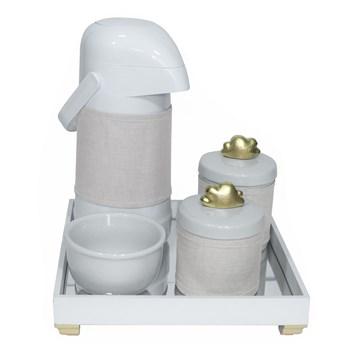 Kit Higiene Espelho Potes, Garrafa, Molhadeira e Capa Nuvem Dourado
