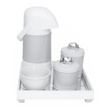Kit Higiene Espelho Potes, Garrafa, Molhadeira e Capa Nuvem Prata