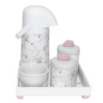 Kit Higiene Espelho Potes, Garrafa, Molhadeira e Capa Nuvem Rosa