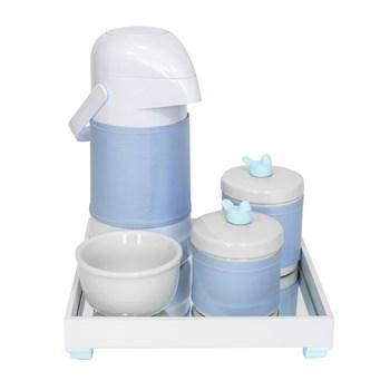 Kit Higiene Espelho Potes, Garrafa, Molhadeira e Capa Passarinho Azul