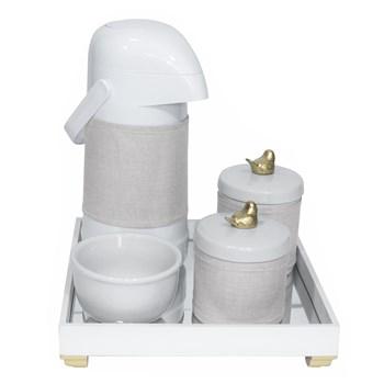 Kit Higiene Espelho Potes, Garrafa, Molhadeira e Capa Passarinho Dourado