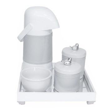 Kit Higiene Espelho Potes, Garrafa, Molhadeira e Capa Passarinho Prata