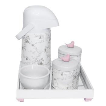 Kit Higiene Espelho Potes, Garrafa, Molhadeira e Capa Passarinho Rosa