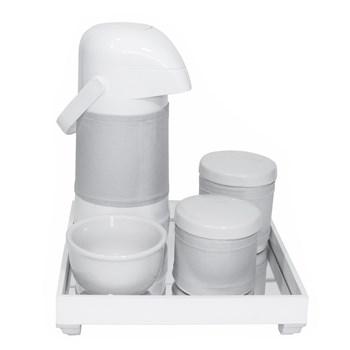 Kit Higiene Espelho Potes, Garrafa, Molhadeira e Capa Prata