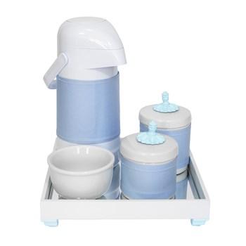 Kit Higiene Espelho Potes, Garrafa, Molhadeira e Capa Provençal Azul