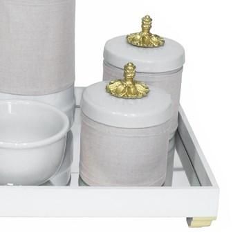 Kit Higiene Espelho Potes, Garrafa, Molhadeira e Capa Provençal Dourado