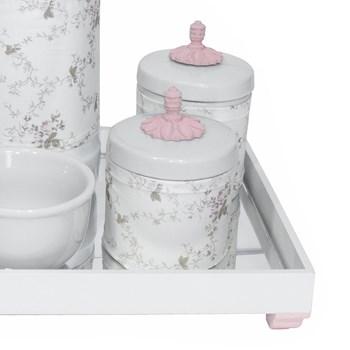 Kit Higiene Espelho Potes, Garrafa, Molhadeira e Capa Provençal Rosa