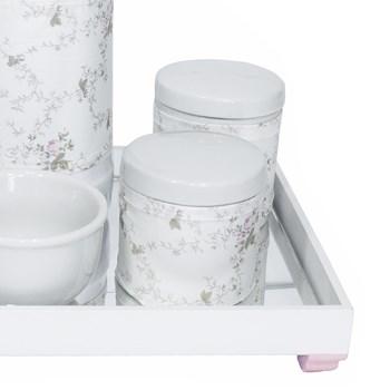 Kit Higiene Espelho Potes, Garrafa, Molhadeira e Capa Rosa