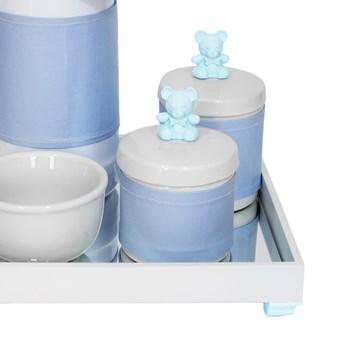 Kit Higiene Espelho Potes, Garrafa, Molhadeira e Capa Ursinho Azul