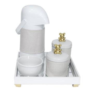 Kit Higiene Espelho Potes, Garrafa, Molhadeira e Capa Ursinho Dourado