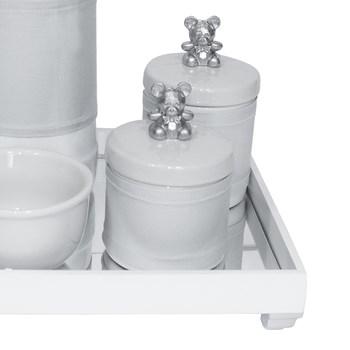 Kit Higiene Espelho Potes, Garrafa, Molhadeira e Capa Ursinho Prata