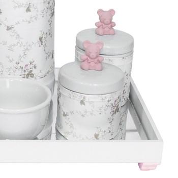 Kit Higiene Espelho Potes, Garrafa, Molhadeira e Capa Ursinho Rosa