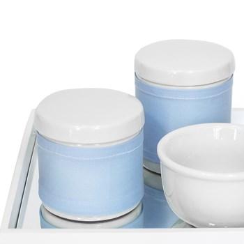 Kit Higiene Espelho Potes, Molhadeira e Capa Azul