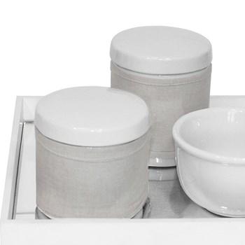Kit Higiene Espelho Potes, Molhadeira e Capa Branco