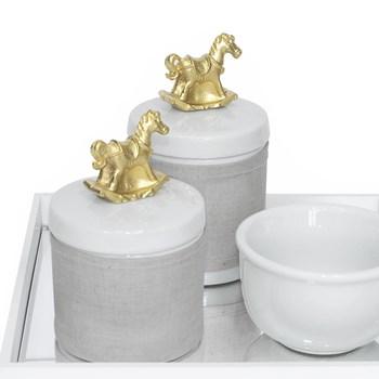 Kit Higiene Espelho Potes, Molhadeira e Capa Cavalinho Dourado