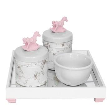 Kit Higiene Espelho Potes, Molhadeira e Capa Cavalinho Rosa