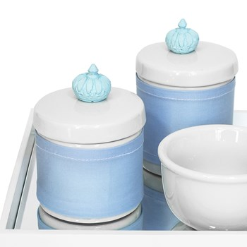 Kit Higiene Espelho Potes, Molhadeira e Capa Coroa Azul