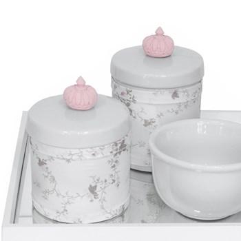 Kit Higiene Espelho Potes, Molhadeira e Capa Coroa Rosa
