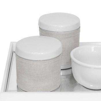 Kit Higiene Espelho Potes, Molhadeira e Capa Dourado