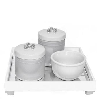 Kit Higiene Espelho Potes, Molhadeira e Capa Flor de Liz Prata