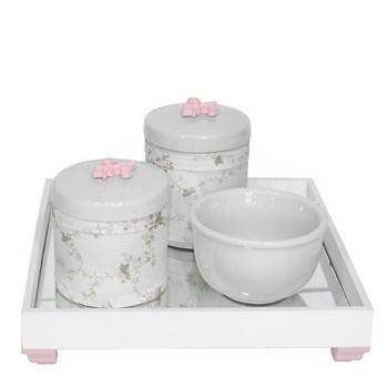 Kit Higiene Espelho Potes, Molhadeira e Capa Flor de Liz Rosa