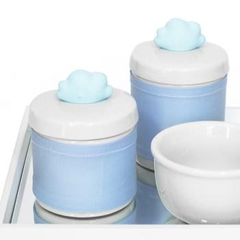 Kit Higiene Espelho Potes, Molhadeira e Capa Nuvem Azul