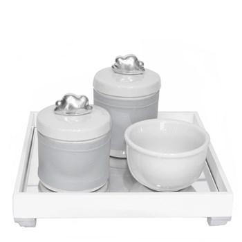 Kit Higiene Espelho Potes, Molhadeira e Capa Nuvem Prata