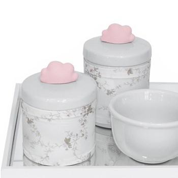 Kit Higiene Espelho Potes, Molhadeira e Capa Nuvem Rosa