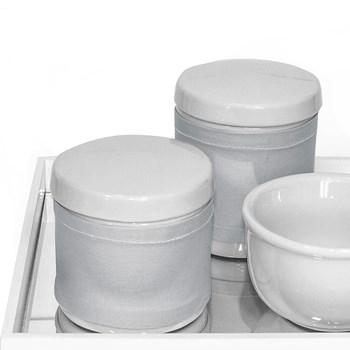 Kit Higiene Espelho Potes, Molhadeira e Capa Prata
