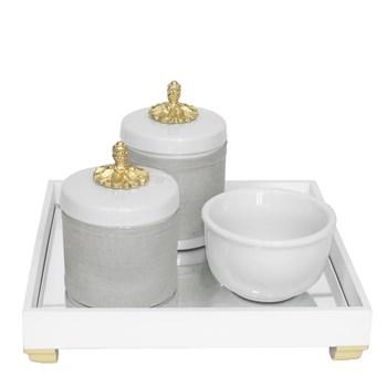 Kit Higiene Espelho Potes, Molhadeira e Capa Provençal Dourado