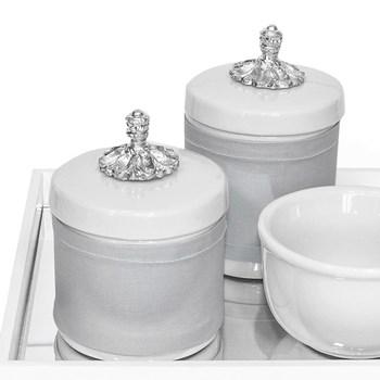 Kit Higiene Espelho Potes, Molhadeira e Capa Provençal Prata
