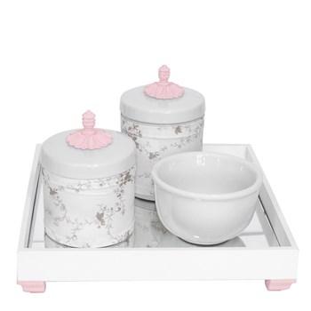 Kit Higiene Espelho Potes, Molhadeira e Capa Provençal Rosa