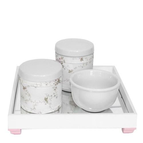 Kit Higiene Espelho Potes, Molhadeira e Capa Rosa