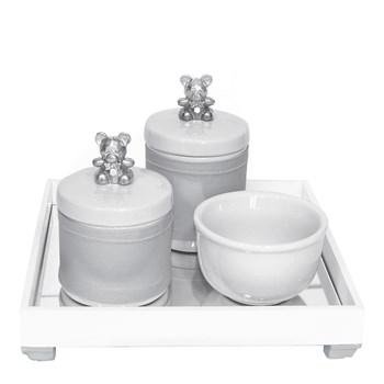 Kit Higiene Espelho Potes, Molhadeira e Capa Ursinho Prata