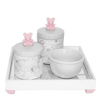 Kit Higiene Espelho Potes, Molhadeira e Capa Ursinho Rosa