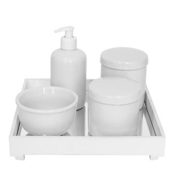 Kit Higiene Espelho Potes, Molhadeira e Porta Álcool-Gel Branco