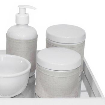 Kit Higiene Espelho Potes, Molhadeira, Porta Álcool-Gel e Capa Branco
