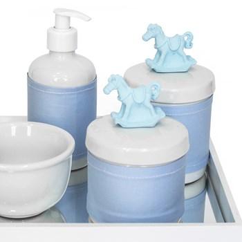 Kit Higiene Espelho Potes, Molhadeira, Porta Álcool-Gel e Capa Cavalinho Azul
