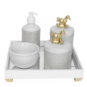 Kit Higiene Espelho Potes, Molhadeira, Porta Álcool-Gel e Capa Cavalinho Dourado