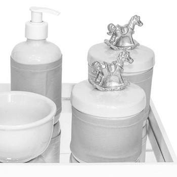 Kit Higiene Espelho Potes, Molhadeira, Porta Álcool-Gel e Capa Cavalinho Prata