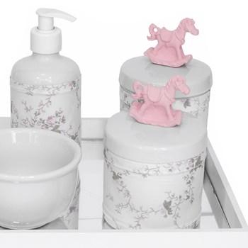 Kit Higiene Espelho Potes, Molhadeira, Porta Álcool-Gel e Capa Cavalinho Rosa